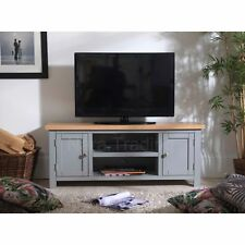 Richmond large television cabinet grey painted solid wood living room furniture
