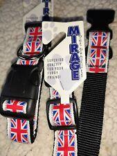 MIRAGE Union Jack  DOG COLLAR and lead set White strong RIBBON MEDIUM washable