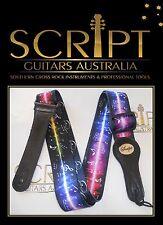 """Leather Ends SCRIPT  """"Plasma Sound Wave""""  Electric, Acoustic, Bass Guitar Strap"""