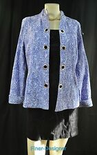Analogy Geometric Blue Jacket open rivets light coat textured embroidered M New