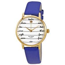 Kate Spade Metro Cream Dial Blue Leather Ladies Watch KSW1238