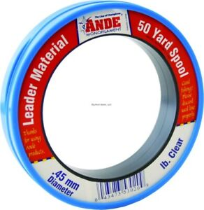 Ande Monofilament Leader Wrist Spool 50-Yards 50 Pounds Clear PCW50-50