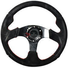 320mm 6-bolt Racing Steering Wheel Full Black Suede & Red Line Stiched