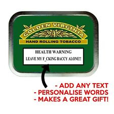 GOLDEN VIRGINIA PERSONALISED NAME Cigarette Stash Tobacco Baccy Box Storage Tin