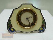 ART DECO TISCHUHR SILBER EMAILLIERT UM 1925 SILVER ENAMEL ANTIQUE TABLE CLOCK