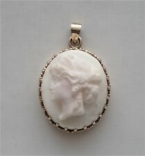 Antique Deco 14K Rose Pink Gold Carved Angel Skin White Coral Cameo Pendant 5.7g