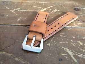 handmade vintage style 26mm Italian leather watch strap fits panerai