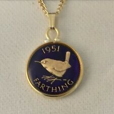 1951 George VI Enamelled Farthing Coin Pendant. Blue/gold. 68th Birthday