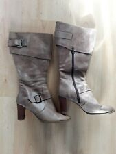 Gorgeous Light Brown Leather Long Zipped Boots from Fiore - Size 4 - Great Cond