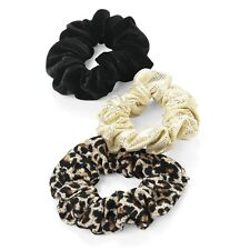 Pack 3 Black Satin Fabric Scrunchie Hair Elastic Ponytail Band School Gym Hols
