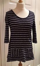 Per Una 100% Cotton Knit Navy Blue White Striped Nautical Tunic Top M 10