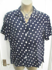 MARINA MILITARE UK:18 MICHAEL ST Blu A Pois Manica Corta Camicia Blusa