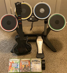 Rock Band Xbox 360 Bundle Guitar Hero Gibson 4 Games Mic Drums Ex Condition