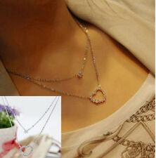 FD1456 Women Girl Crystal Rhinestone Love Heart Diamond Pendant Chain Necklace