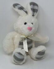 Dan Dee Plush Bunny Rabbit Soft Stuffed Animal White Gray Stripe Pink Nose Baby