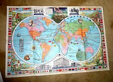 VINTAGE CARTOON MAP WORLD SPICE TEA COFFEE ROUTES ANCIENT ANGELS BLOWING 1960