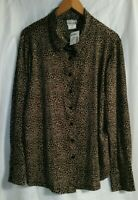 Fashion Bug Women's Blouse Button Front Brown Animal Print 18/20 Long Sleeve New