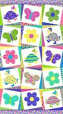 Topsy Turvy Bright Butterfly Bug Quilt Fabric Panel Baby Child