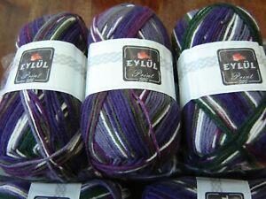 Huge lot of soft  knitting yarn dk  self patterning  10 x 100g @LOOK@