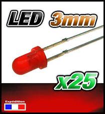 258/25# LED 3mm rouge diffusant 25pcs + résistance