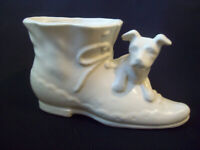 Vintage Shawnee Pottery Planter High Top Shoe with Dog Cream White circa 1940s