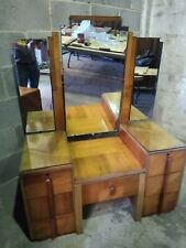 More details for stunning art deco mirrored dressing table and stool, top quality 1930s elegance