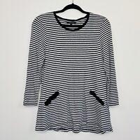 Marco Polo Womens Top Linen Stripe Black White Long Sleeve Size S