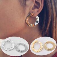 Fashion Women Elegant Wide Hook Earring Crystal Ear Stud Dangle Hoops OL Jewelry