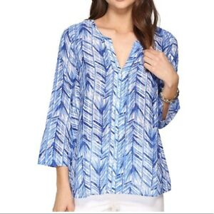 NWT Lilly Pulitzer Nalani Tunic Costa Verde Printed Lapis Blue Blouse Top Size S