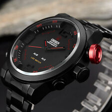 OHSEN Black Stainless Steel Red LED Light Mens Dual Time Quartz Wrist Watch