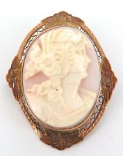 .A 10K ROSE & YELLOW GOLD ANTIQUE CAMEO PENDANT / BROOCH.
