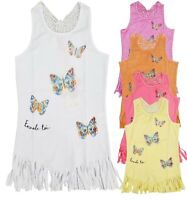 Kids Girls Sequin Butterfly Sleeveless Fashion Vest Tunic Fringe Top  Age 2-12 Y