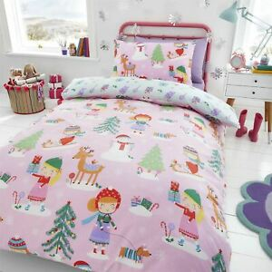 HLC Girls Festive Christmas Tree Sausage Dog Pink Reversible Duvet Cover Set