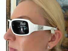 New  Dolce&Gabbana D&G Sunglasses Made in Italy White Plastic Frame Silver Logo