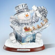 Gift of  the Holidays Snowman with Present Christmas Figurine Thomas Kinkade