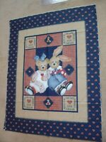 VTG DAISY KINGDOM First Friends Quilt Cotton Fabric Panel 1 yd Bunny Bear Hearts