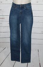 Womens Eddie Bauer Blue Jeans Size-2 Straight Curvy 28W/33L Cotton Blend Pants