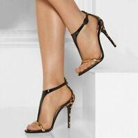 Women High Heel Peep Toe Buckle Sandals Slingback Stilettos Party Shoes Big Size