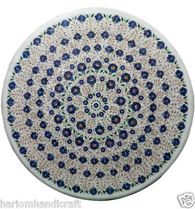 36'' Marble Dining Table Top Rare Lapis Inlaid Marquetry Garden Arts Decor H970