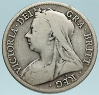 1895 UK Great Britain United Kingdom QUEEN VICTORIA 1/2 Crown Silver Coin i83157