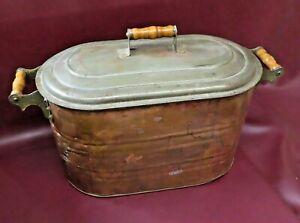 "Antique 27"" Long 10-Gallon Oval Copper Wash Tub Boiler Pot w/ Lid & Wood Handles"