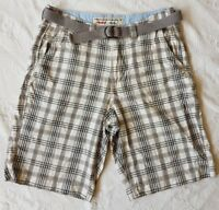 """AMERICAN EAGLE OUTFITTERS Longboard Men's Plaid Grey Shorts With Belt.Size W32""""."""