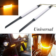 2x Bright Amber LED Universal Motorcycle Fork Turn Signals For Clean Custom Look