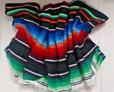 Mexican Serape Blanket Black with rainbow colors striped and white fringe XL