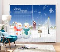 3D Winter Ansicht 8 Blockade Foto Vorhang Druckvorhang Vorhänge Stoff Fenster DE