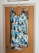 SIZE 16 JOE BROWN SUMMER COTTON ELASTANE DRESS SATIN BUTTONS SHORT