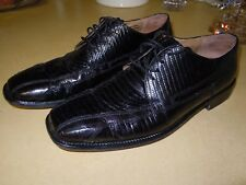 """ STACY ADAMS "" GENUINE BLACK SNAKE LEATHER DRESS OXFORD DRESS SHOES - SIZE 10M"