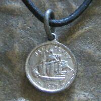 Münze Herren Damen Kette Segelschiff schwarz Leder Halskette Piraten Lederkette