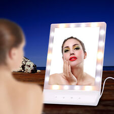 Portable LED Lighted Touch Screen Makeup Cosmetic Mirror Tabletop Bathroom Lamp
