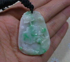 Fine Natural Type A Jadeite Jade Vivid Lotus Carp(年年有余)Antique Pendant
